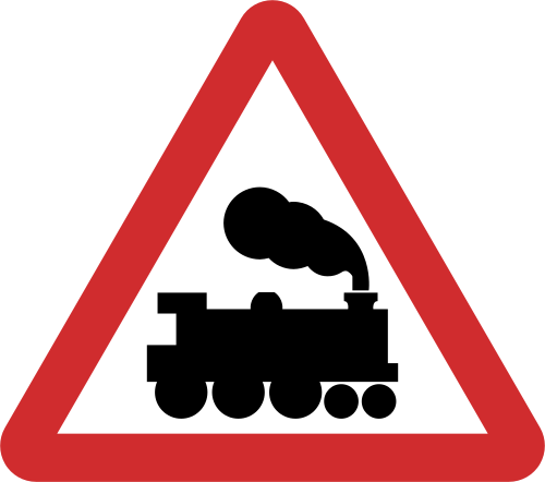 Unmanned Railway crossing road sign