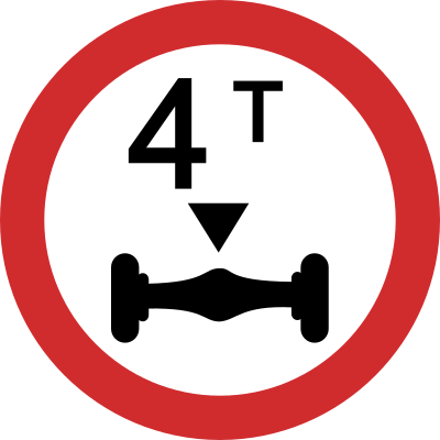 Axle Weight Limit road sign