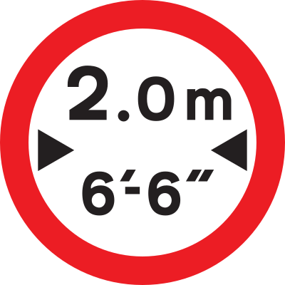 Vehicle Width Limit road sign