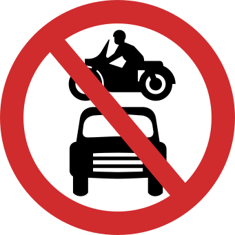 No Motor Vehicle road sign