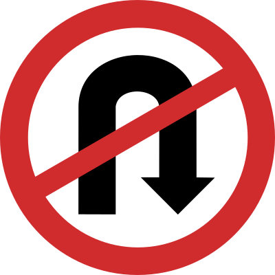 No U-Turn road sign
