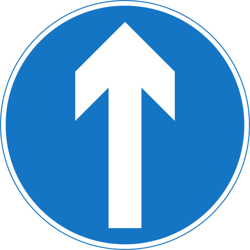 Proceed Straight Ahead road sign