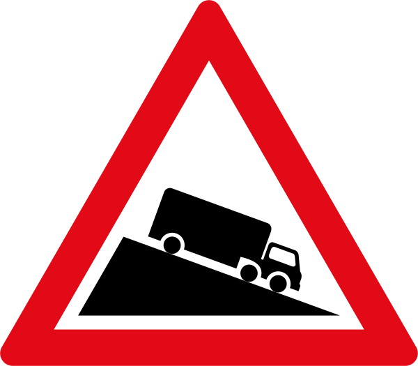 Steep Descent road sign